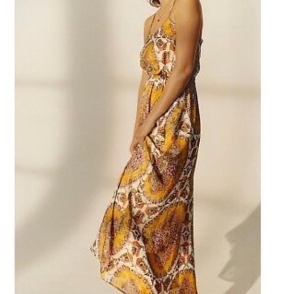 Anthropologie Dresses & Skirts - Anthropologie gold print maxi dress